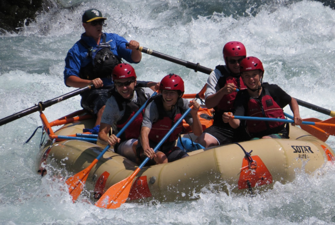 Happy rafters on the North Umpqua River with Orange Torpedo