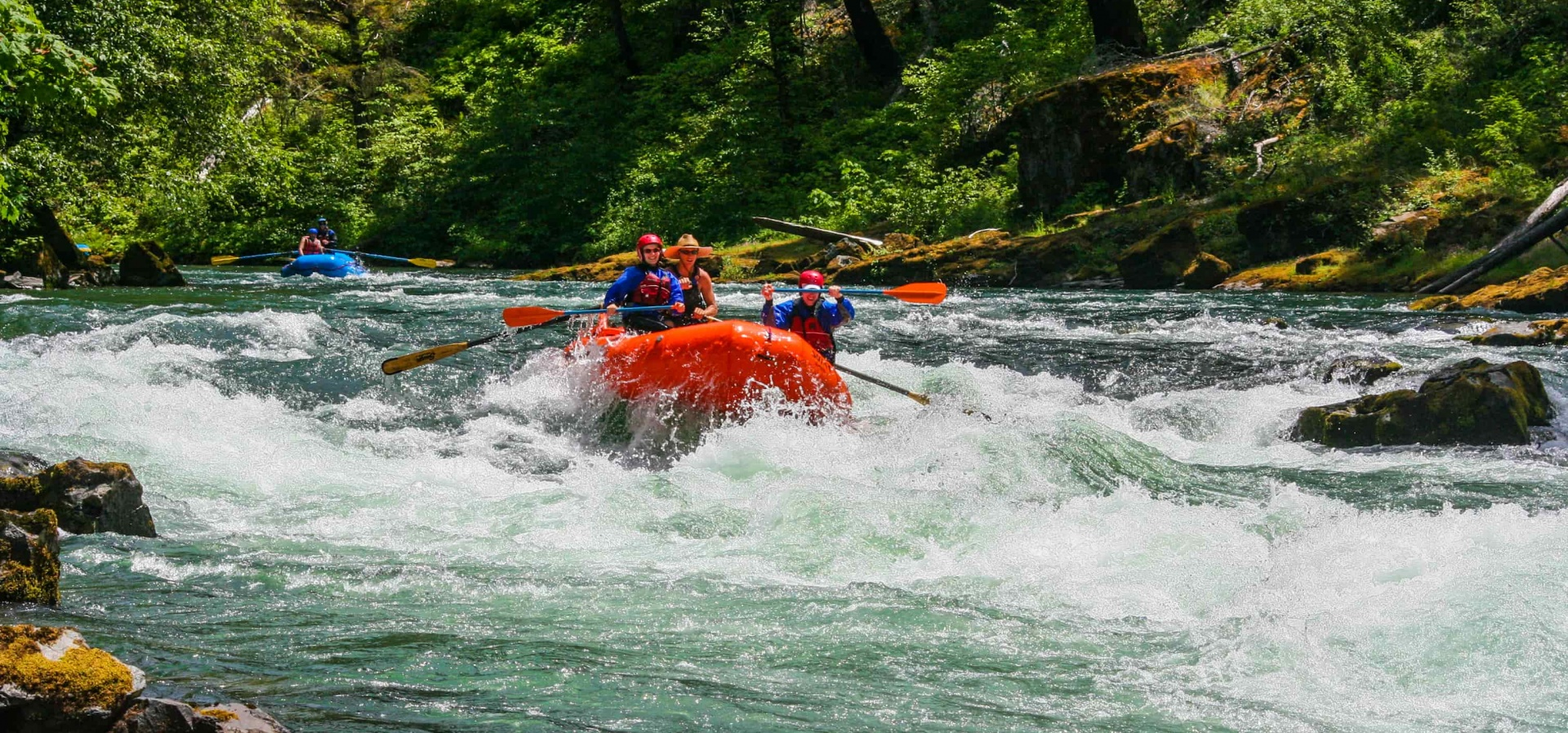Couple whitewater rafting on the North Umpqua River